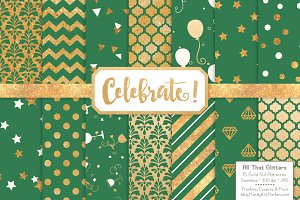 Gold Foil Digital Papers in Emerald