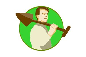 Gardener Shovel On Shoulder Circle