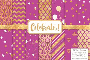 Gold Foil Digital Papers in Fuchsia
