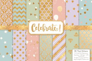 Gold Foil Digital Papers in Grandmas