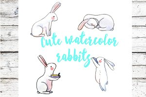 watercolor rabbits, patterns