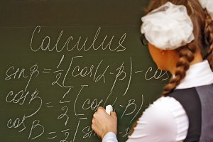 Student in classroom calculus.