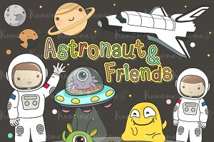 The Astronaut & Friends clipart set