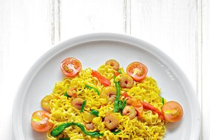 Dish of noodles with prawns