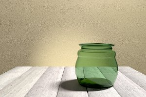 Empty glass pot