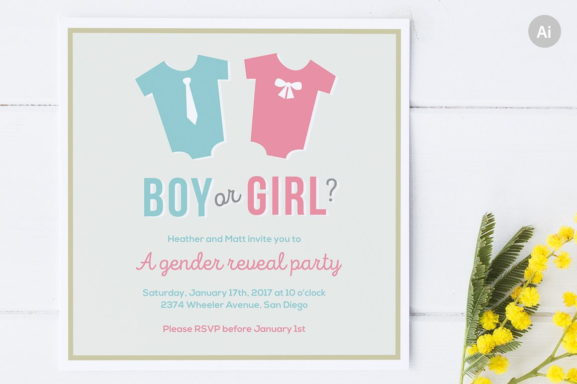 This is a graphic of Adaptable Free Printable Gender Reveal Party Invitations