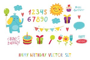Happy birthday vector set