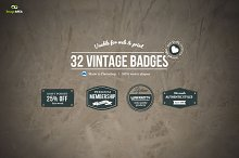 32 Small Vintage Badges