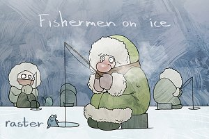 Fishermen on ice