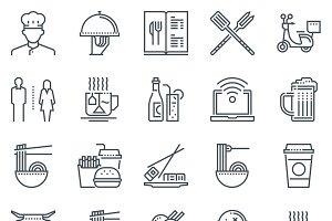 Restaurant icon set - 25 icons