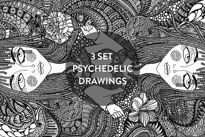 3 psychedelic drawings