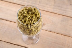 Hops in a glass