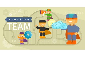 Creative Team Design Flat Concept