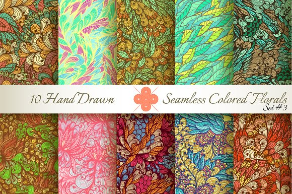 10 Colored Seamless Florals. Set #3 - Patterns