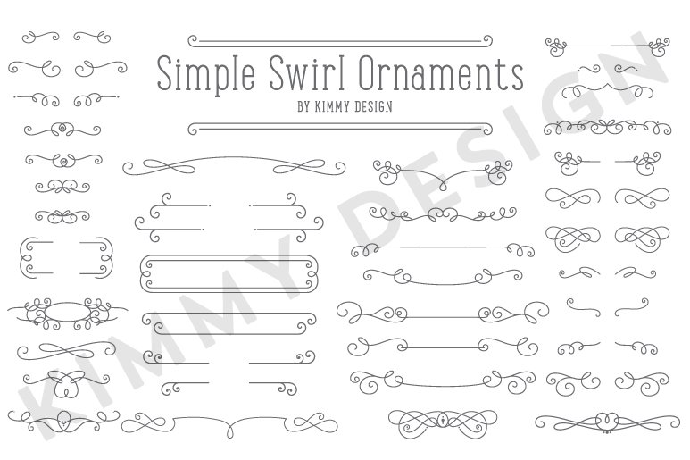 simple swirl ornaments graphic objects creative market