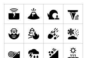 Set icons of natural disaster