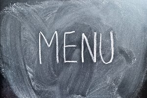 Menu on blackboard