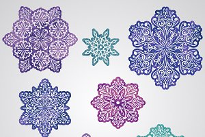 Vector Paper Cut Watercolor Snowflak
