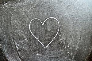 Heart shape on a blackboard