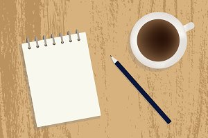 Coffee, notebook and pencil