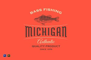 Vintage Logo with Fish