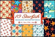 10 Starfish Seamless Patterns