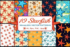 10 Starfish Seamless Patterns