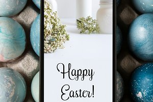 Mobile easter card on the screen