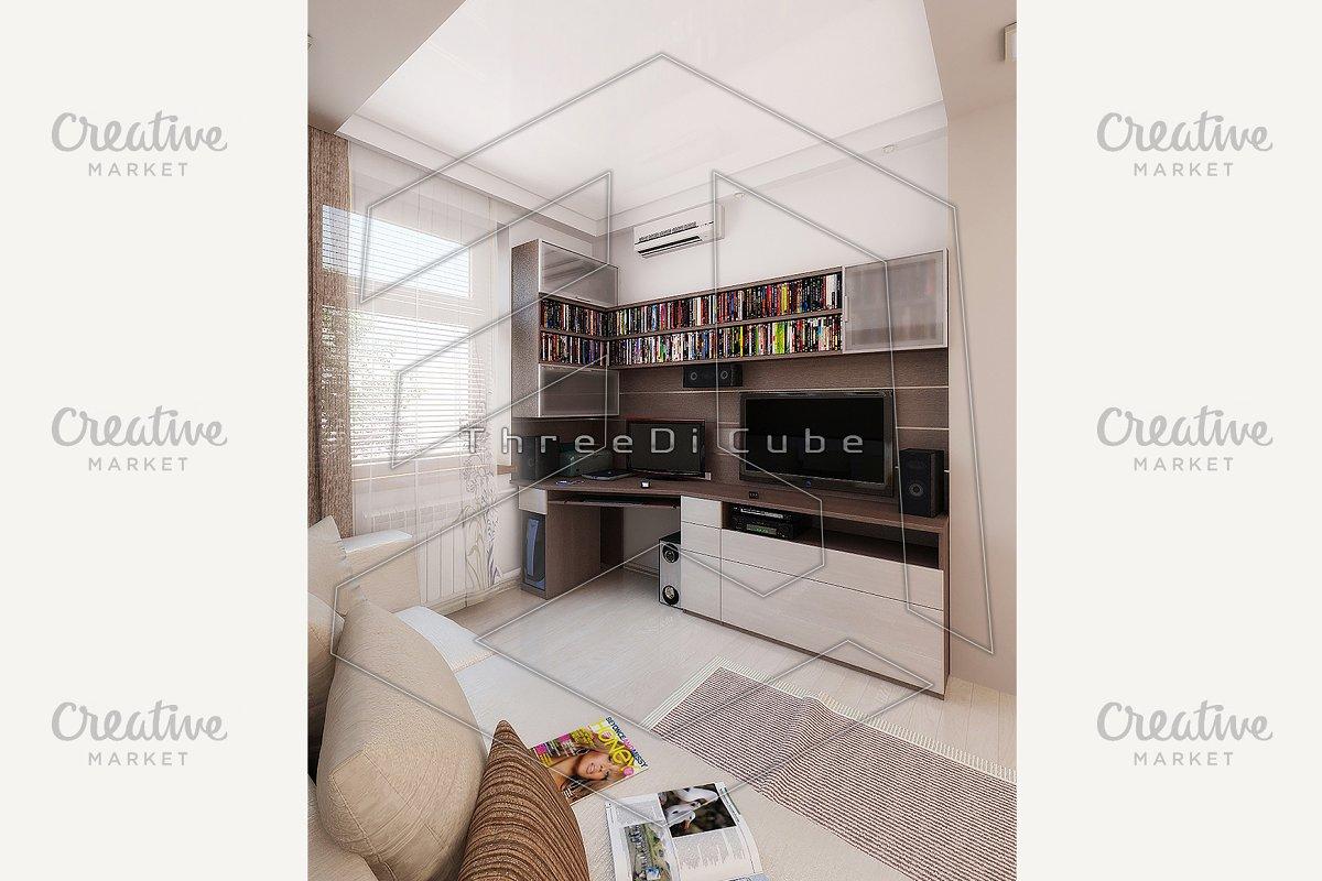 Young man bedroom, render 3D