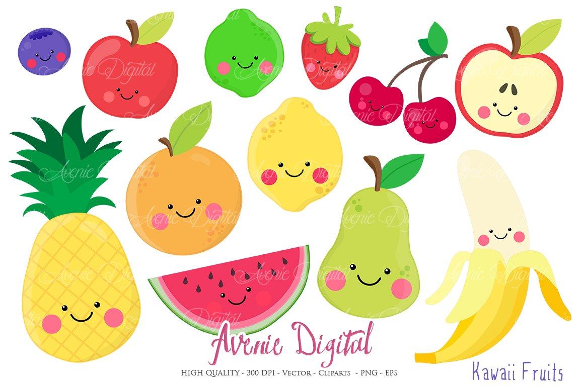 Kawaii Fruits Clipart Vectors Pre Designed Illustrator Graphics Creative Market