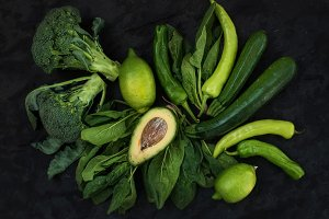 Raw green vegetables set