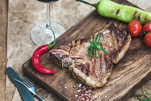 Cooked meat t-bone steak