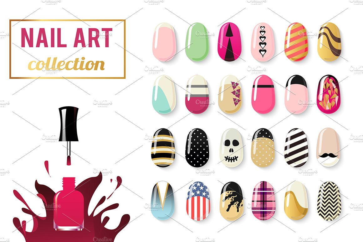 Nail art vector collection ~ Objects ~ Creative Market