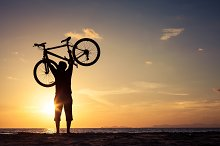 happy man with bicycle