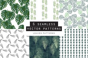 Leaves Seamless Patterns Set of 6