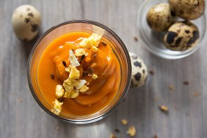 Salmorejo in crystal glasses