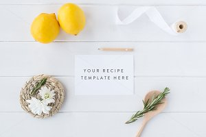 Recipe card mock up - Psd+Jpg