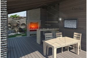 Gazebo inside view, 3D render