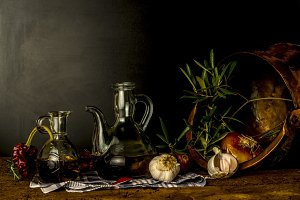 Olive oil traditional still life
