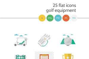 Golf 25 flat icons full collection