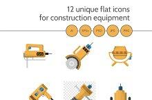 Construction equipment 12 flat icons
