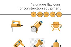 Construction equipment 12 flat icons