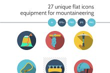 Climbing equipment 27 flat icons