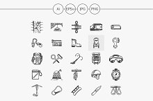 Rock climbing line icons collection