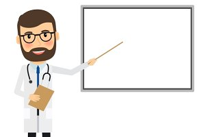 Doctor with whiteboard