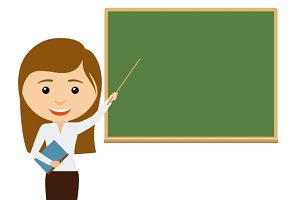 Female teacher at the chalkboard
