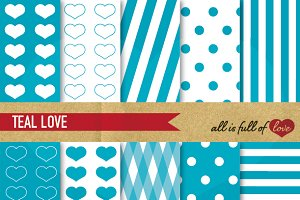 Teal Blue Illustration Love Patterns