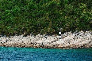 Lighthouse on a mountain, Montenegro, Adriatic sea.
