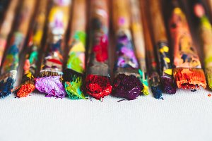 Artist paintbrushes closeup