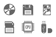 Digital Data Vector Icons Set